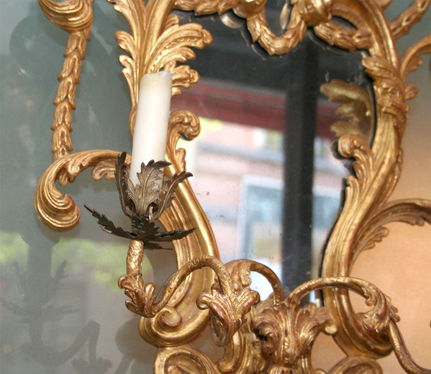 18th Century and Earlier Fine Pair of George III Giltwood Two-Light Sconces, 18th Century For Sale