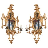 Fine Pair of George III Giltwood Two-Light Sconces, 18th Century