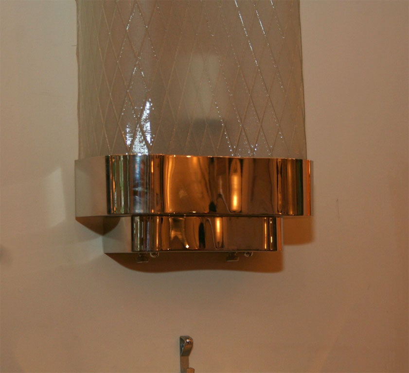 Pair of long diamond pattern glass sconces at 1stdibs