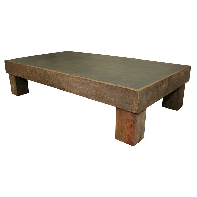 Contemporary Coffee Table With Slate Inset At 1stdibs