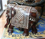 Impressive Anglo Indian Ivory and Bone Inlaid Rosewood Elephant thumbnail 2