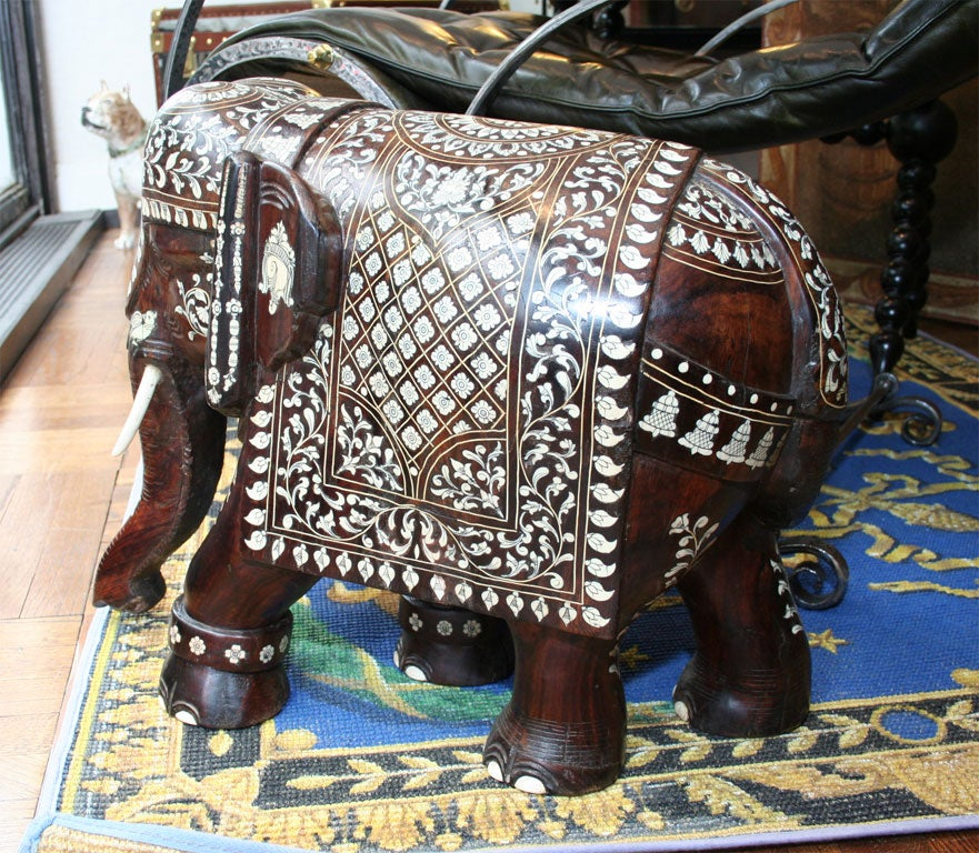 Impressive Anglo Indian Ivory and Bone Inlaid Rosewood Elephant image 2