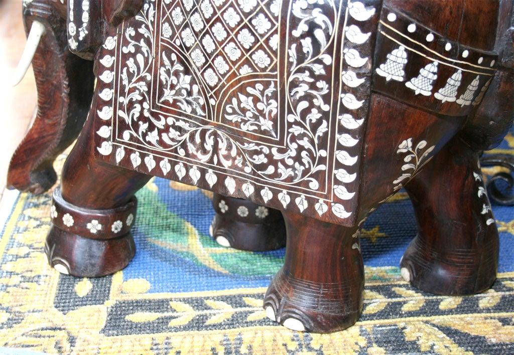 Impressive Anglo Indian Ivory and Bone Inlaid Rosewood Elephant image 3