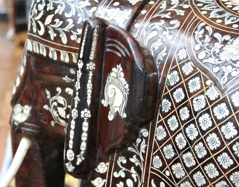 Impressive Anglo Indian Ivory and Bone Inlaid Rosewood Elephant image 4