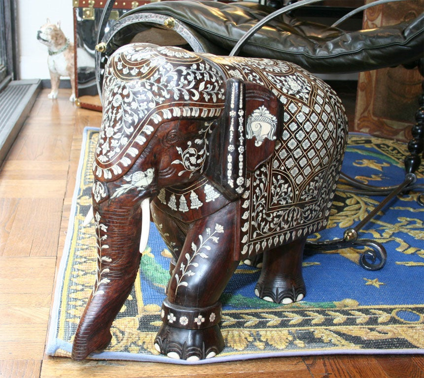 Impressive Anglo Indian Ivory and Bone Inlaid Rosewood Elephant image 5