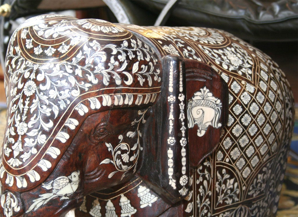Impressive Anglo Indian Ivory and Bone Inlaid Rosewood Elephant image 7