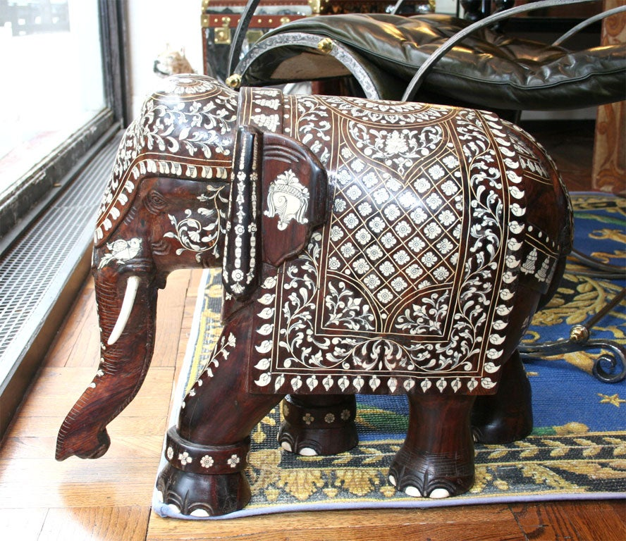 Impressive Anglo Indian Ivory and Bone Inlaid Rosewood Elephant image 8