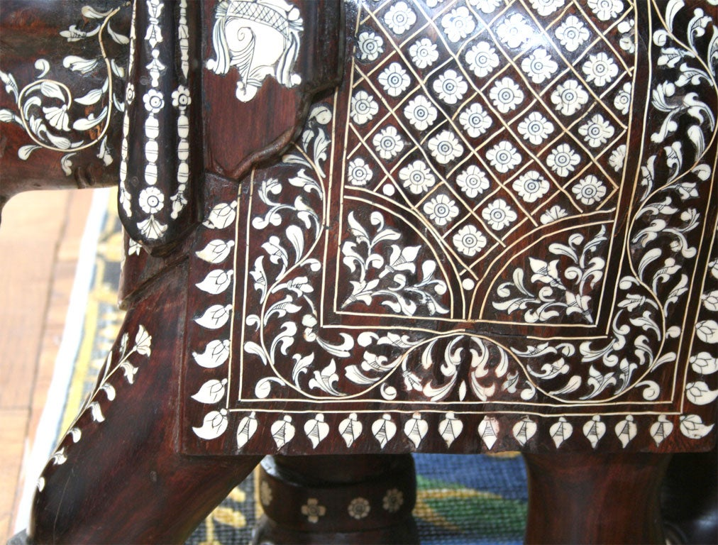Impressive Anglo Indian Ivory and Bone Inlaid Rosewood Elephant image 9