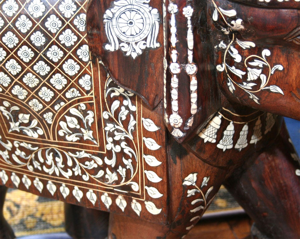 Impressive Anglo Indian Ivory and Bone Inlaid Rosewood Elephant image 10