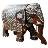 Impressive Anglo Indian Ivory and Bone Inlaid Rosewood Elephant thumbnail 1