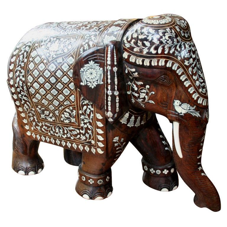 Impressive Anglo Indian Ivory and Bone Inlaid Rosewood Elephant