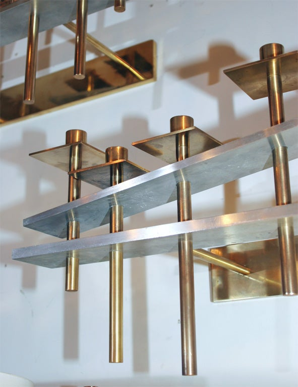 Pair of Architectural Wall-Mounted Candelabra In Excellent Condition For Sale In New York, NY