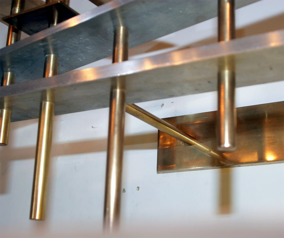 Brass Pair of Architectural Wall-Mounted Candelabra For Sale