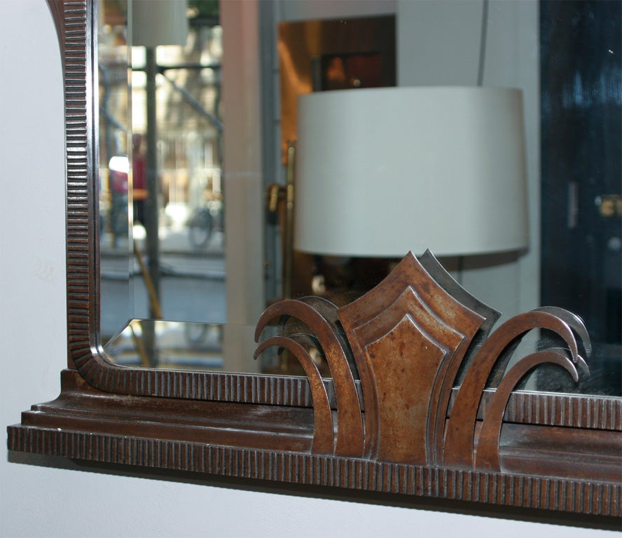 Art Deco Iron Mirror by Jules Bouy 3