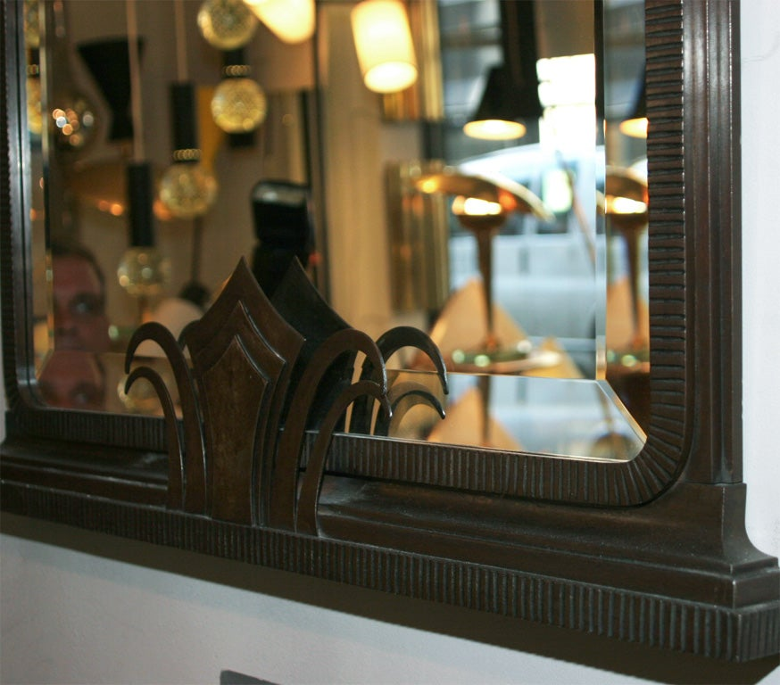 Art Deco Iron Mirror by Jules Bouy For Sale 1