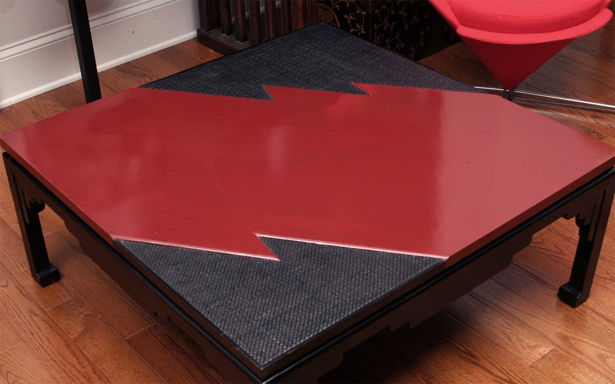Red Lacquer Lightning Coffee Table For Sale At 1stdibs