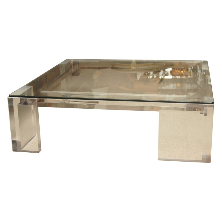 Custom Glass Coffee Table Top: Custom Lucite Coffee Table With Glass Top For Sale At 1stdibs