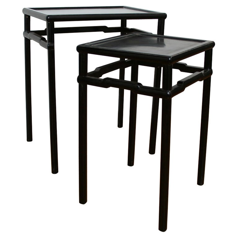 Two Ebonized Stacking Tables In Chinese Style At 1stdibs