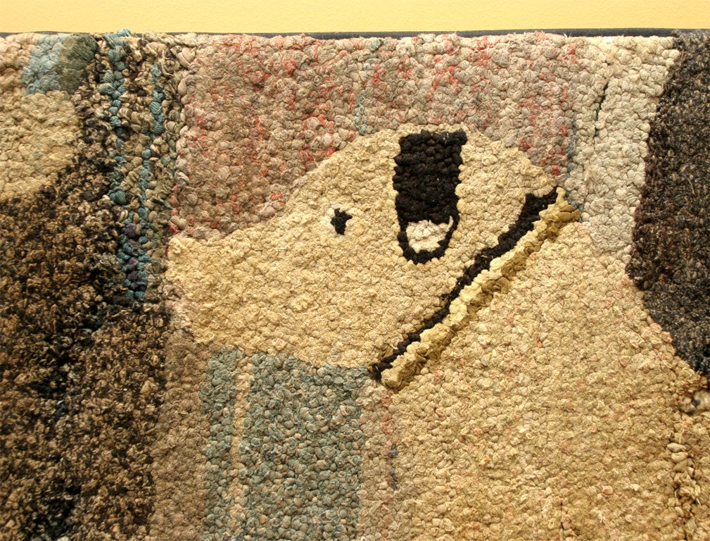 Antique Hooked Rug:  Cat and Dog 3