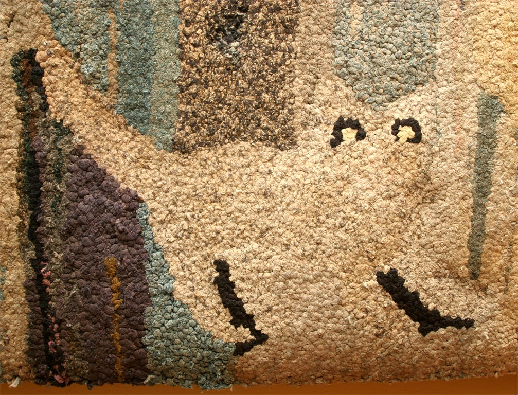 Antique Hooked Rug:  Cat and Dog 4