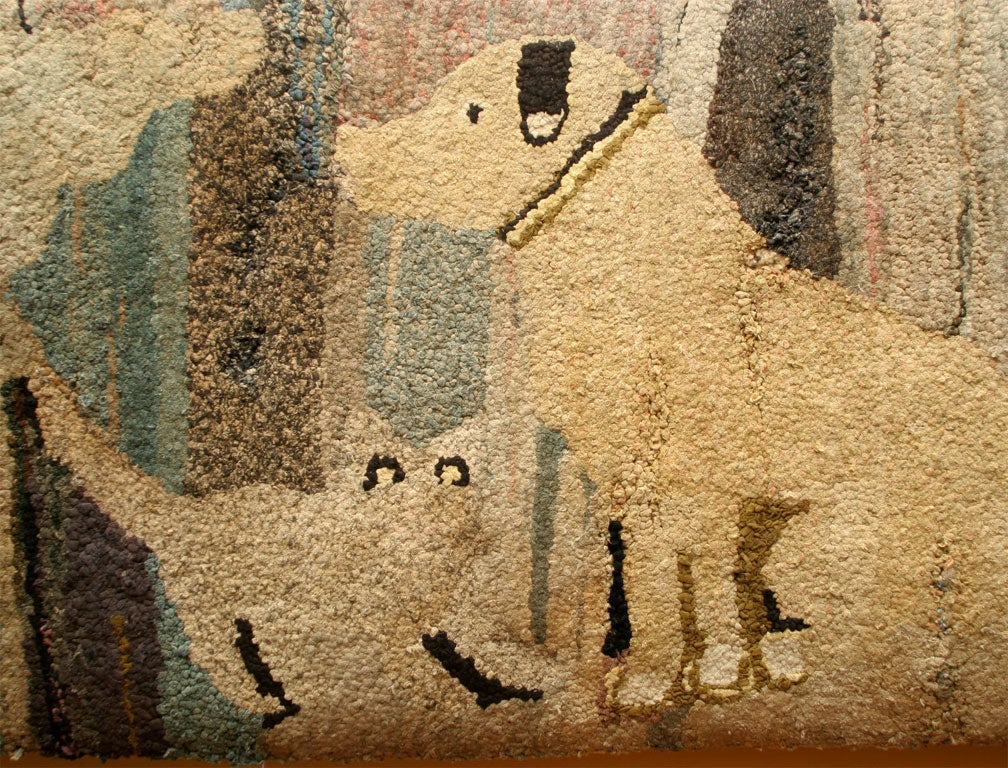 Antique Hooked Rug:  Cat and Dog 5