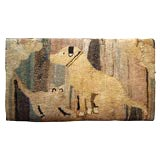 Antique Hooked Rug:  Cat and Dog