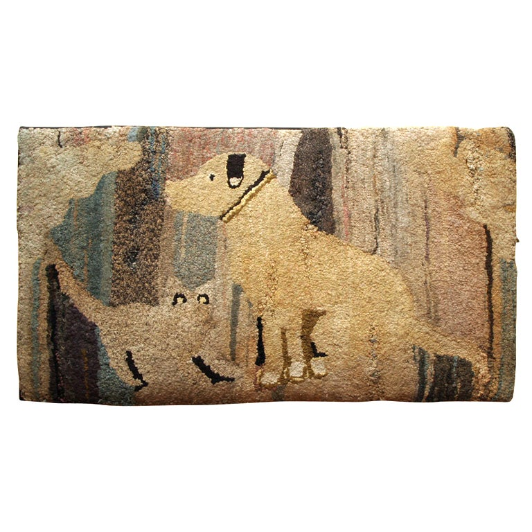 Antique Hooked Rug:  Cat and Dog 1