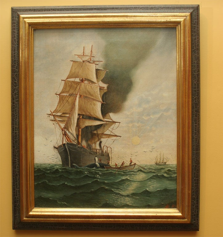 Smoke rises from a magnificent sailing ship, with men in row boat nearby.  Inscribed