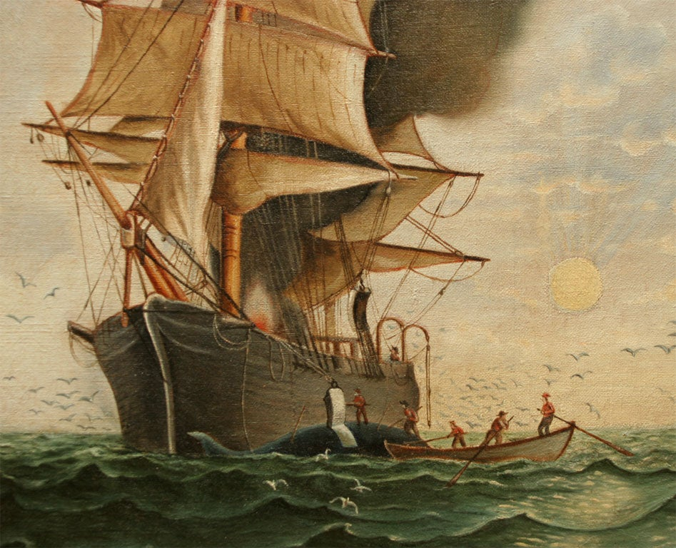 19th Century Nautical Painting:  Sailing Ship For Sale
