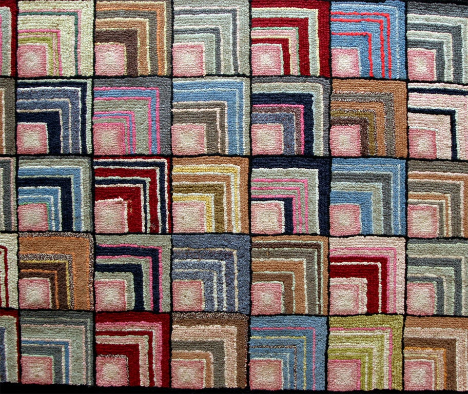 20th Century Antique Hooked Rug, Geometric For Sale