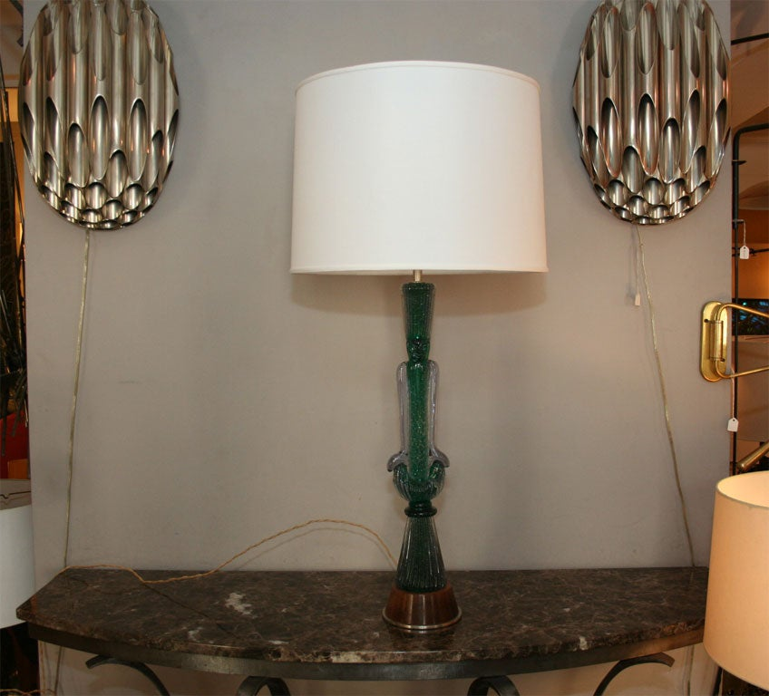 A modernist table lamp signed Seguso. Shade not included