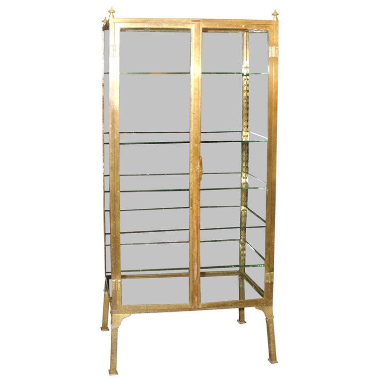 Brass And Glass Vitrine Pharmacy Cabinet Bookcase At