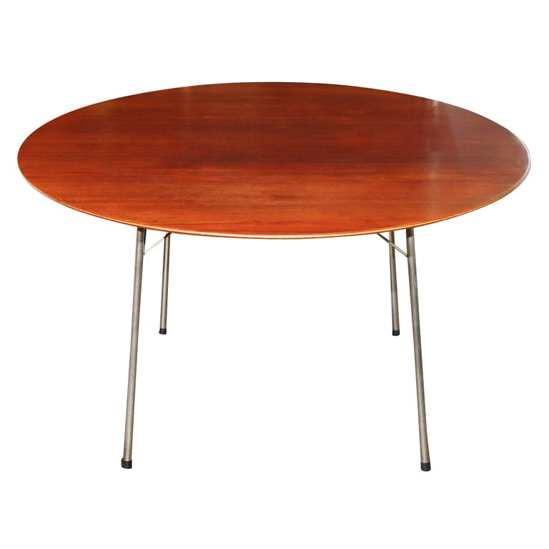 Arne Jacobsen for Fritz and Hansen teak and chrome table