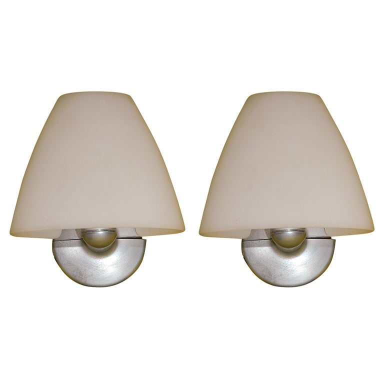 Wall Sconces Glass Shades : Arteluce pair wall sconces with murano glass shade at 1stdibs
