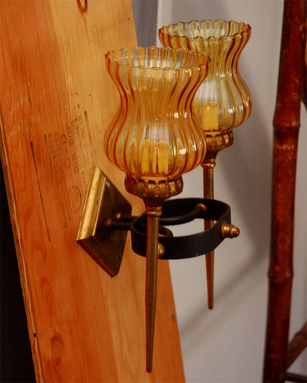 Pair of Two Light Sconces For Sale 2