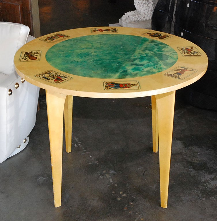 Mid-Century Aldo Tura Parchment Game Table 2
