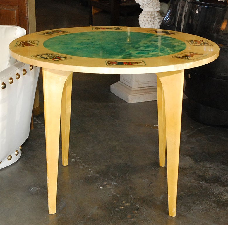 Mid-Century Aldo Tura Parchment Game Table 8