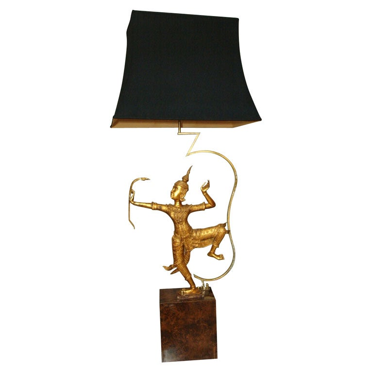 Large and Impressive Table Lamp with Dancing Thai Figure For Sale ...