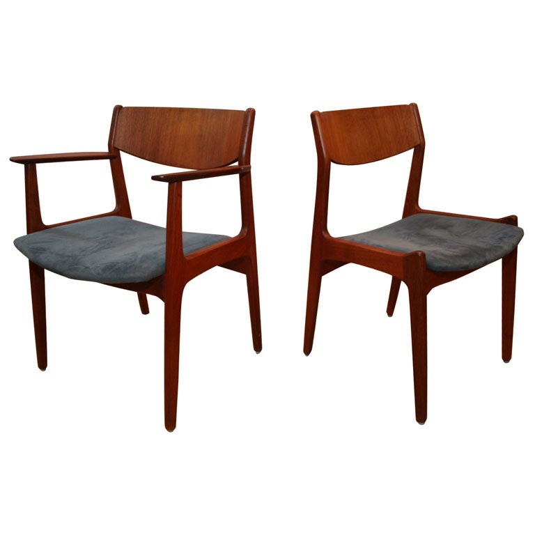 Danish Dining Chair set of handsome danish dining chairs signed george tanier for sale