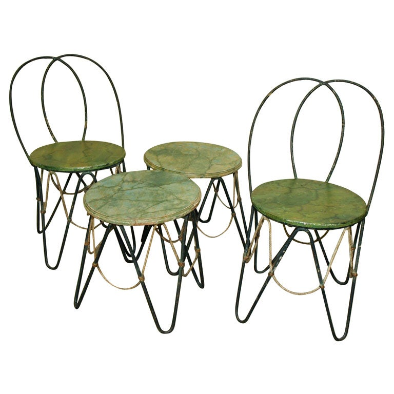 Set of 1920 s French Garden Furniture 1. Set of 1920 s French Garden Furniture For Sale at 1stdibs
