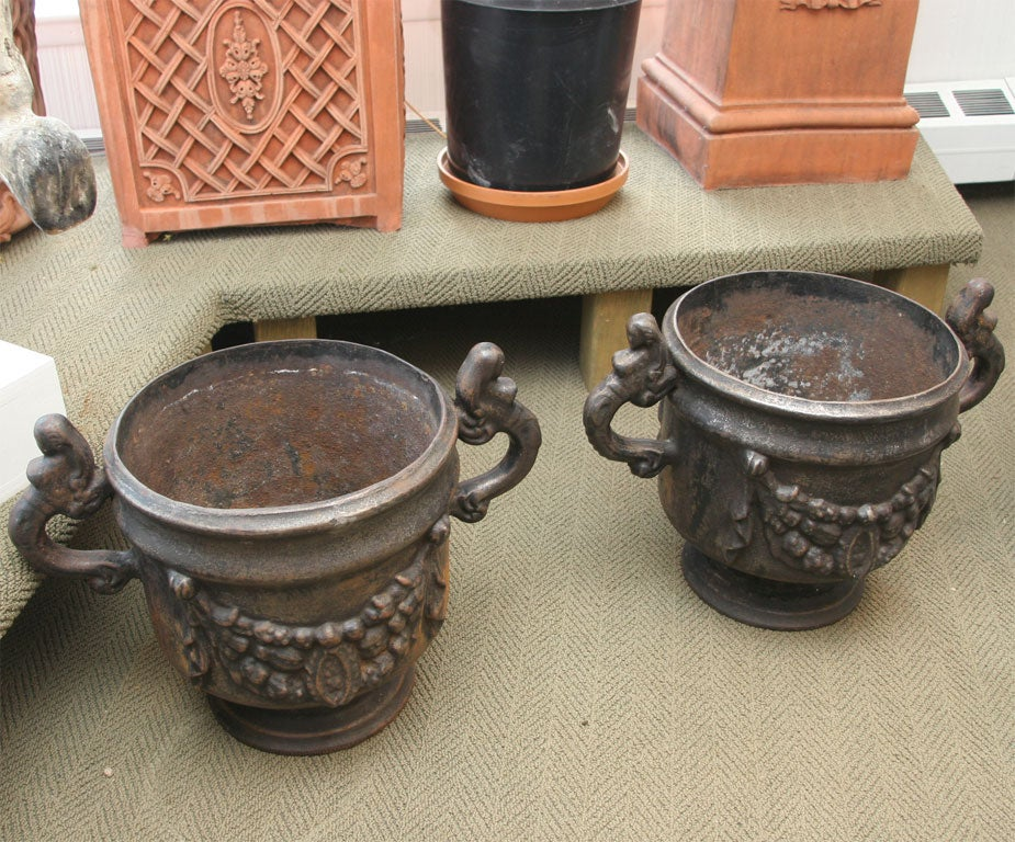 Swedish Pair of Ornate Cast Iron Urns For Sale