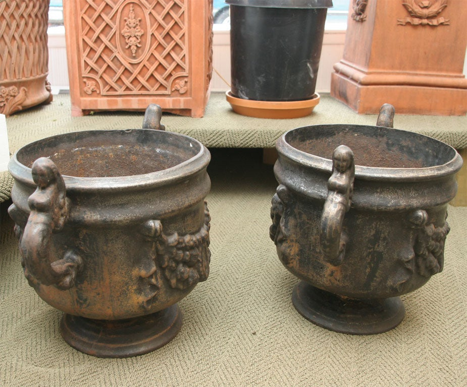 19th Century Pair of Ornate Cast Iron Urns For Sale