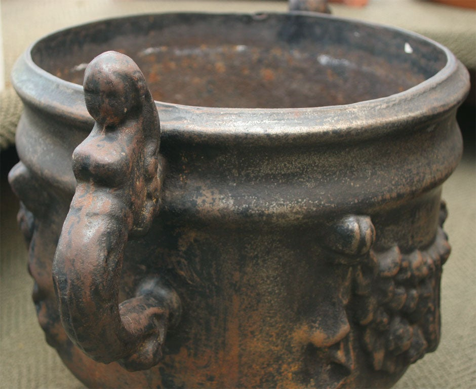 Pair of Ornate Cast Iron Urns For Sale 1