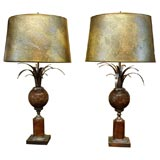 """Pair of Mid Century Modern  """"Marble""""  & Brass Table Lamps"""