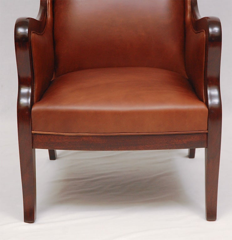 Scandinavian Modern Frits Henningsen Wingback Armchair For Sale