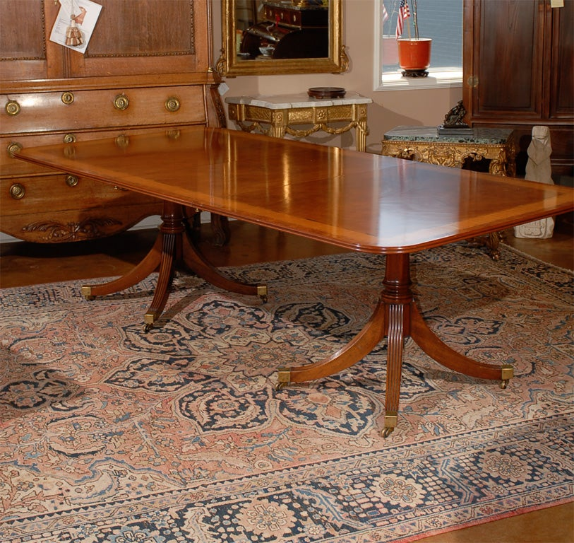 english faded mahogany double pedestal dining table w 2 leaves image