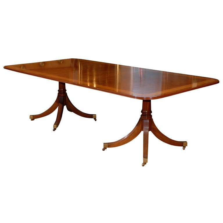 ... Faded Mahogany Double Pedestal Dining Table w/ 2 Leaves at 1stdibs