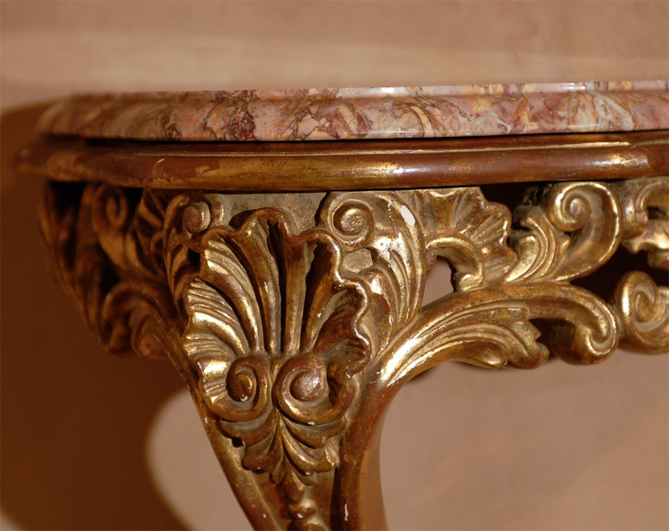 Rose Gold Shelf Brackets: 19th Century Pair Of Louis XV Gold Leaf Marble Top Wall
