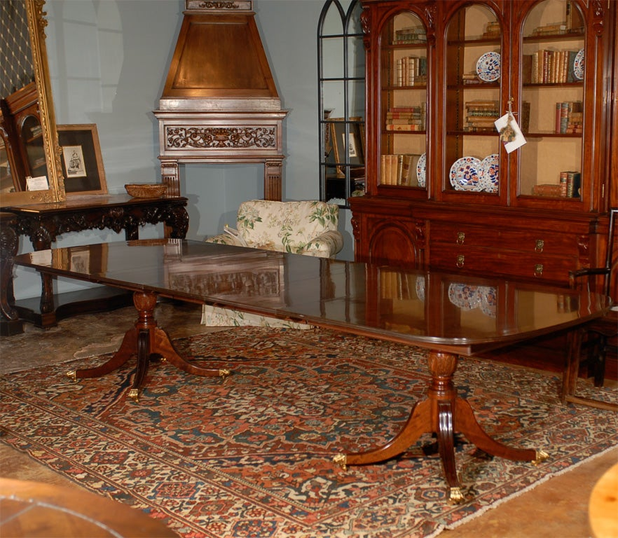 Double Pedestal Sheraton Style Solid Mahogany Dining Table At 1stdibs