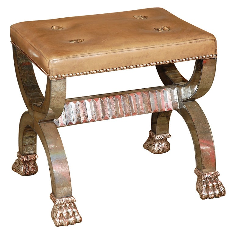 Cushioned Bench with Mirrored Glass Lion Paw Feet